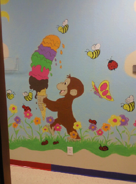 Splashofcolor4u for Curious george giant wall mural